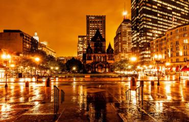 Copley noturna em Boston