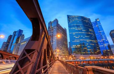 Centro de Chicago de noite