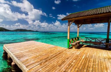O mar azul turquesa da Providencia