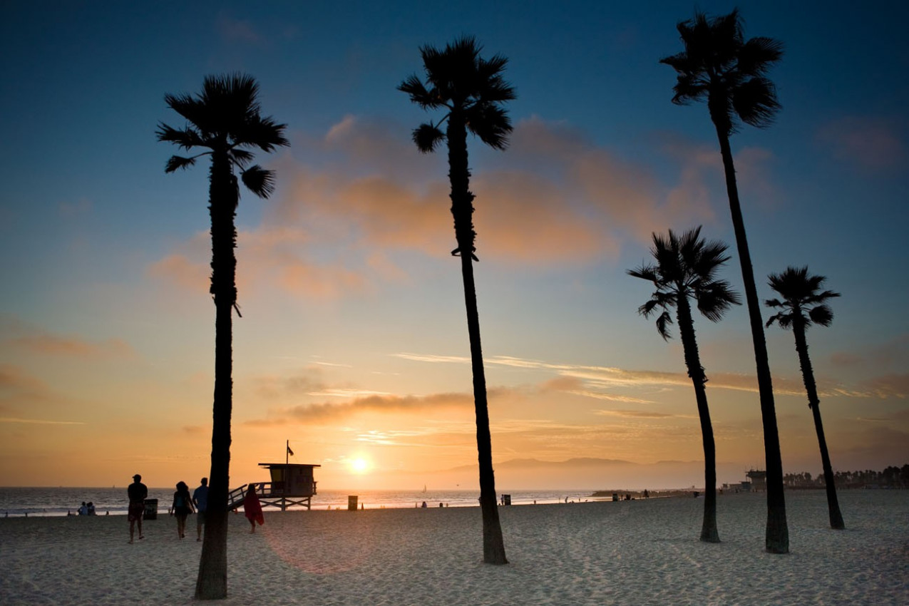 Pôr do sol na praia de Los Angeles