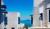 Sidi Bou Said. La Gulett, Tunísia. Branco e azul cidade
