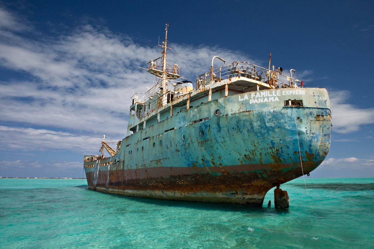 An old cargo ship has run aground in the shallow near the Turks & Caicos Islands