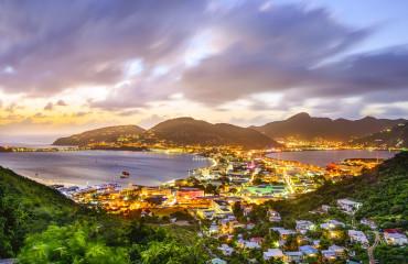 Philipsburg, Sint Maarten, Dutch Antilles cityscape at the Great Salt Pond