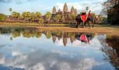 Angkor wat khmer templo fotografia de paisagem com elefante. Camboja