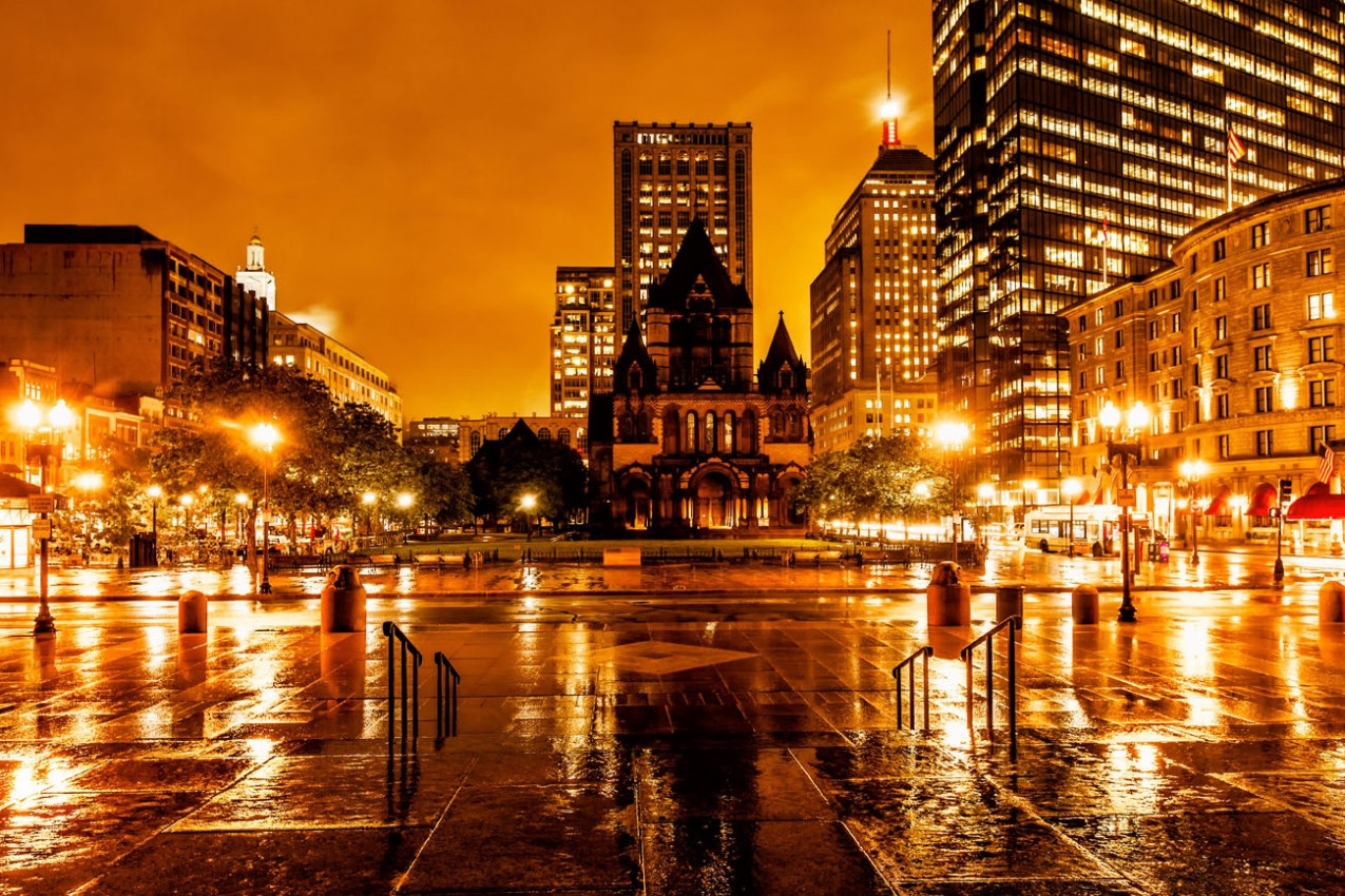 Boston Copley Square on a stormy night, view facing the historic Trinity Church