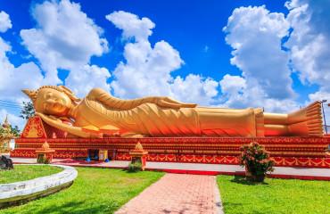 Buddha que dorme templo Vientiane, Laos