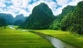 Campo do arroz e do rio, NinhBinh, paisagens vietnam , Camboja