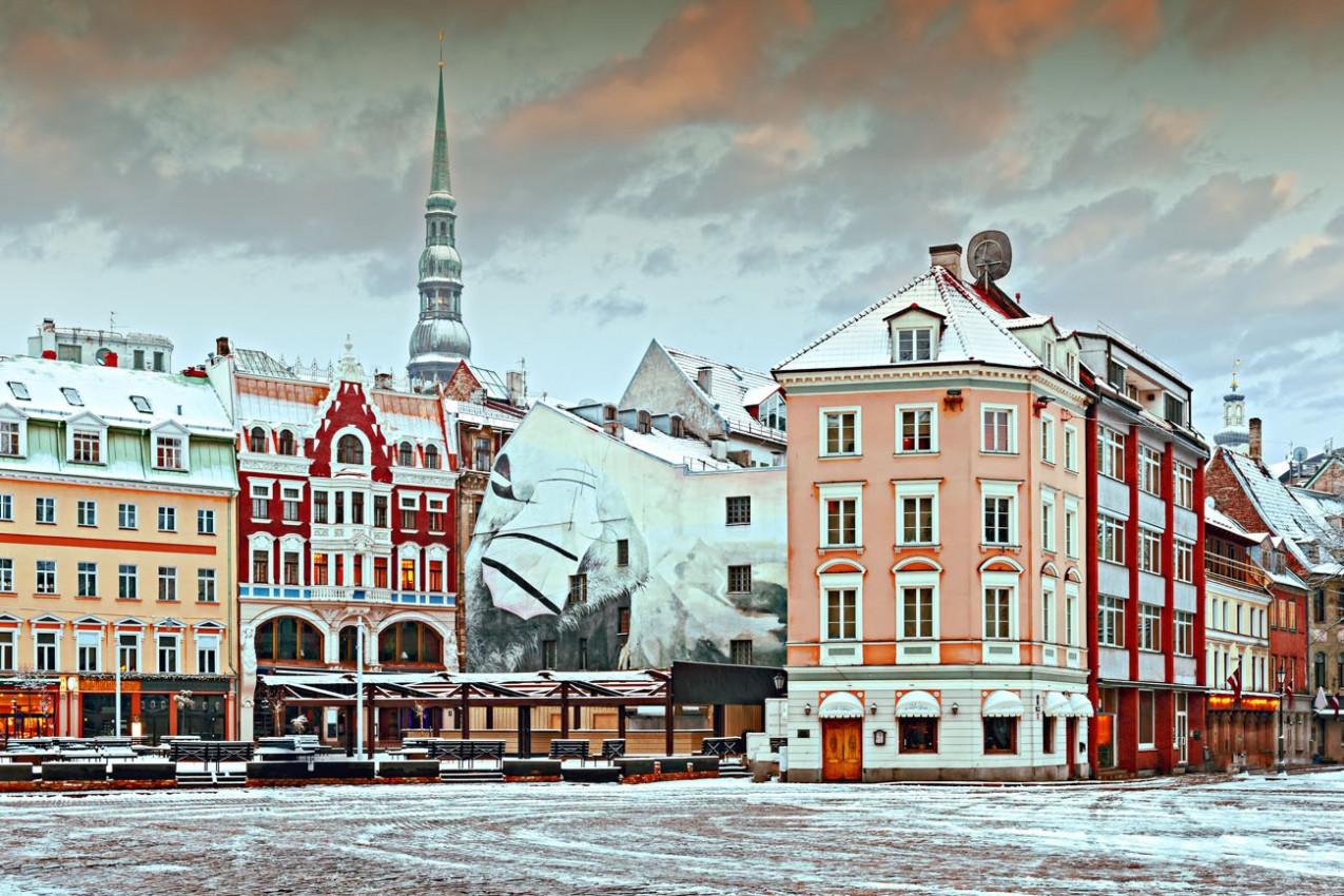 Centro da cidade antiga de Riga - capital da Letónia, a Europa