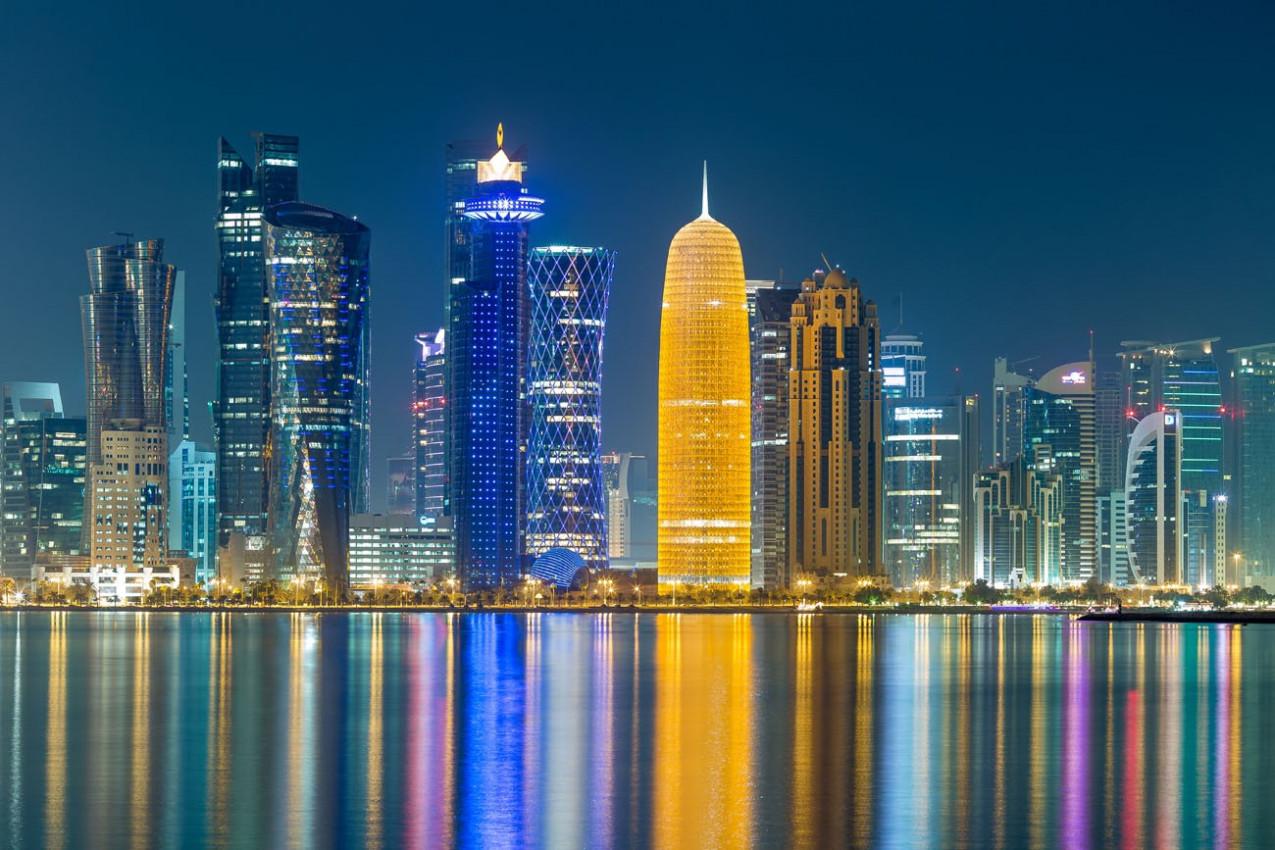 Edíficios de Doha a noite