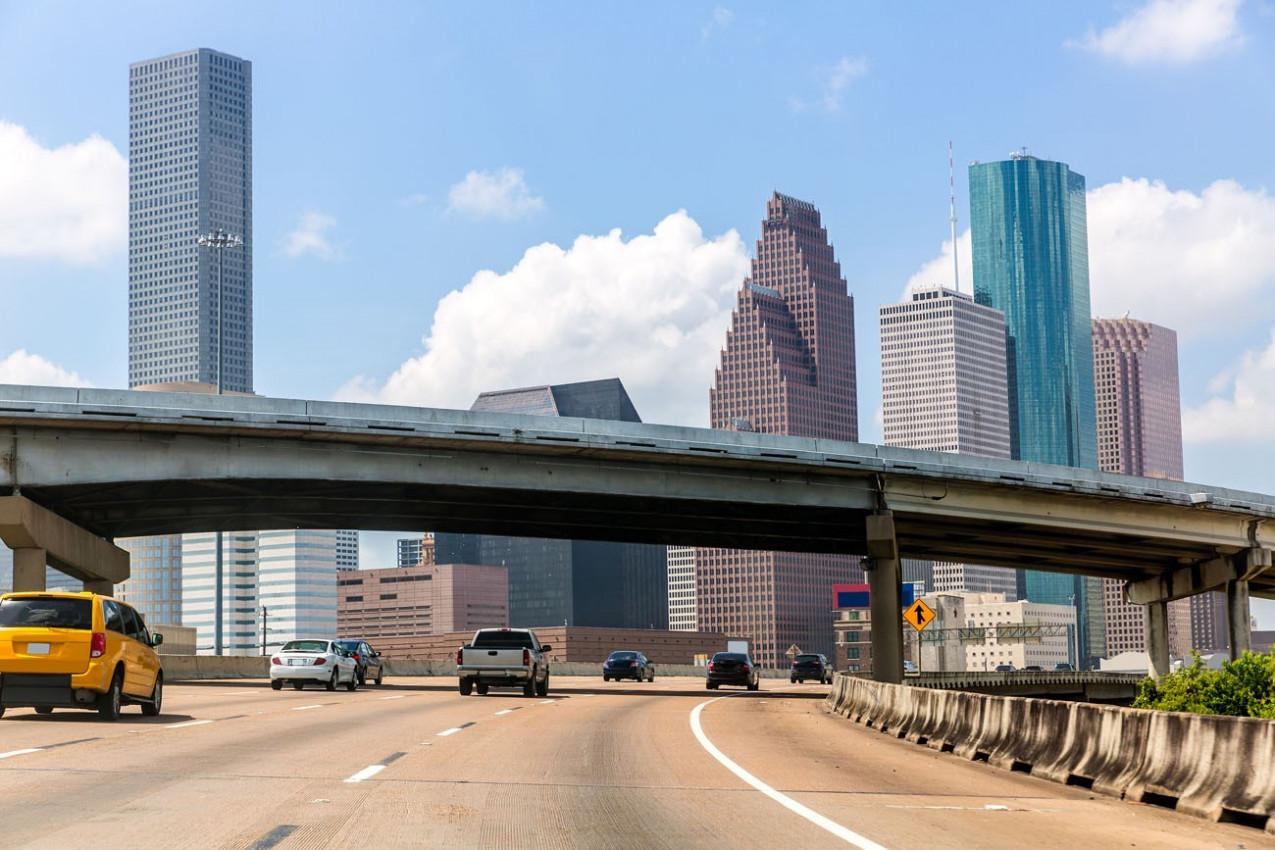 Houston skyline from Gulf Freeway I 45 interstate traffic at Texas US USA