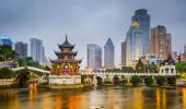 Guiyang, China skyline da cidade sobre o rio