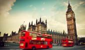 Londres, Ônibus vermelho, Big Ben e o Palácio de Westminster os ícones da Inglaterra