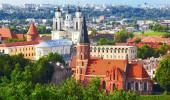 Panorama de Kaunas de Aleksotas colina, Lituânia