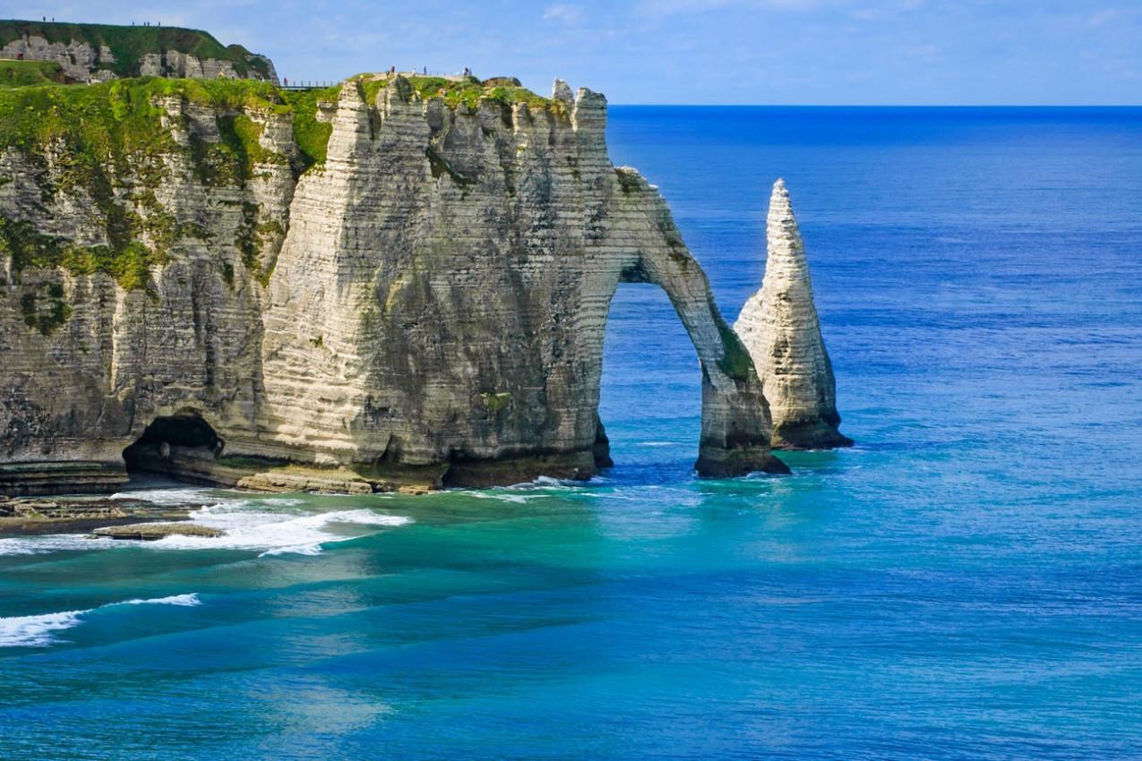 Penhasco Etretat Aval, Vista aérea. Normandia, França