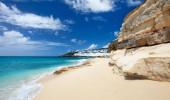 Sandstone cliffs at beautiful Cupecoy Beach on Sint Maarten