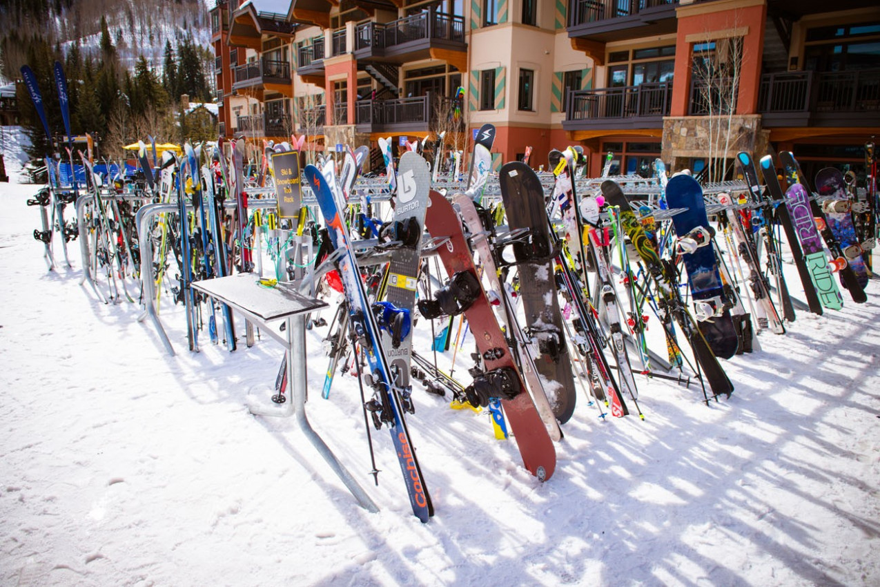 SkIers and lift during ski season in Vail, Colorado
