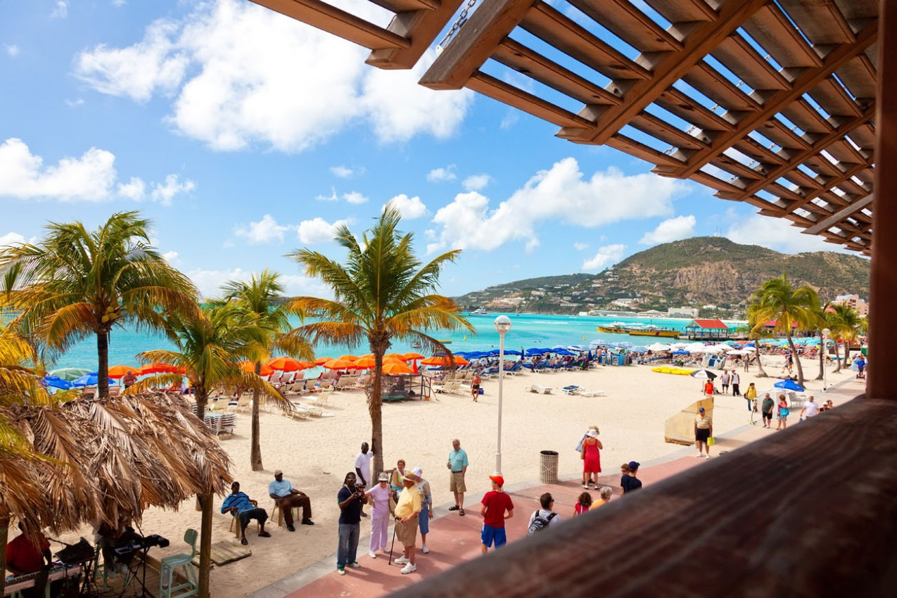 Tourists on Great Bay Beach in St. Maarten