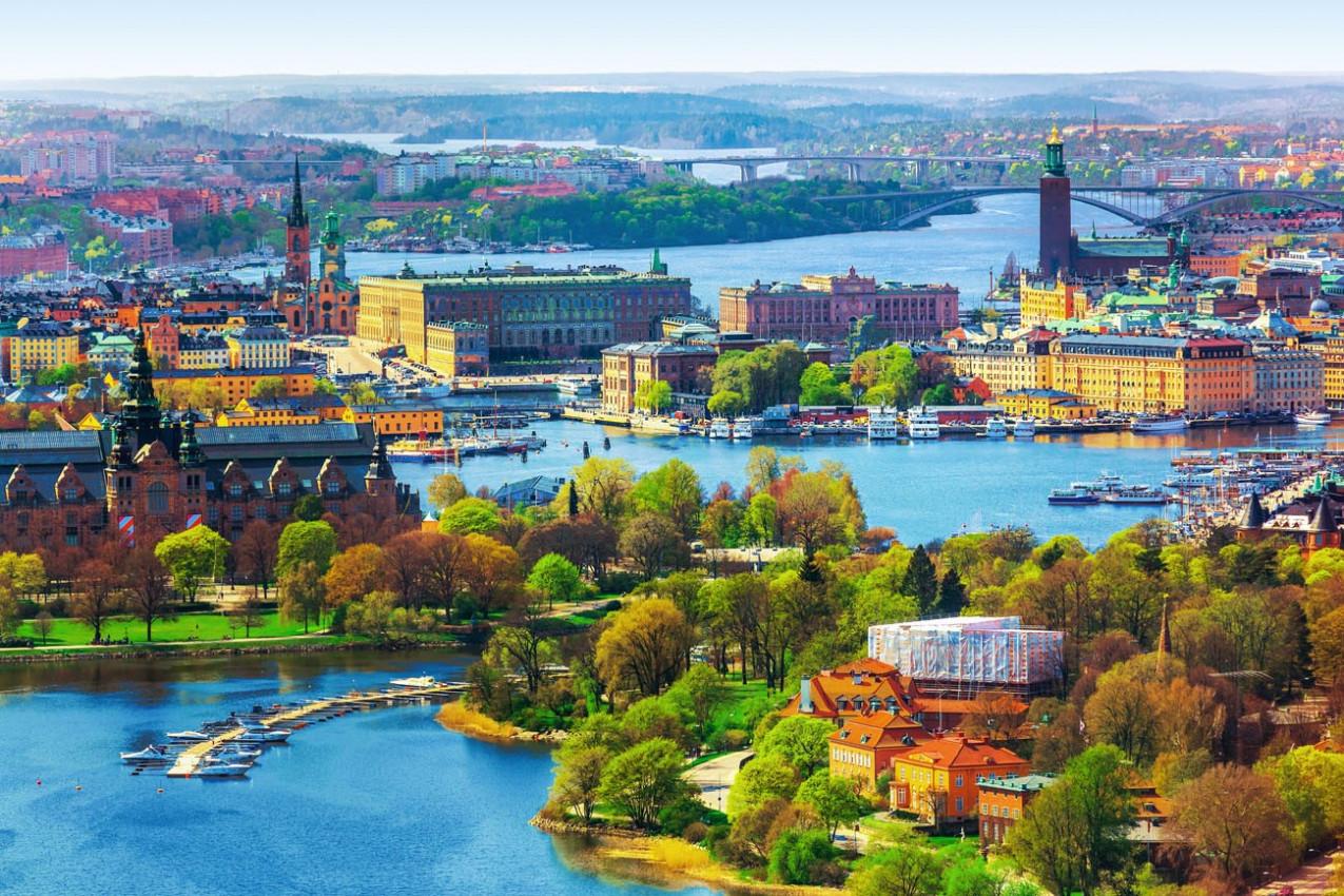 verão panorama aéreo da arquitetura da Cidade Velha (Gamla Stan) em Estocolmo, Suécia