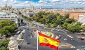 Vista aérea de Cibeles fonte na Plaza de Cibeles, em Madrid