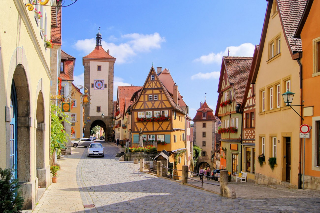 Vista clássica de Rothenburg ob der Tauber, Alemanha
