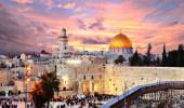 Vista da cidade antiga na parede ocidental e o Templo do Monte em Jerusalém, Israel