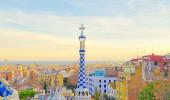 Vistas a partir do Parc Guell projetado por Antoni Gaudi, Barcelona, Espanha